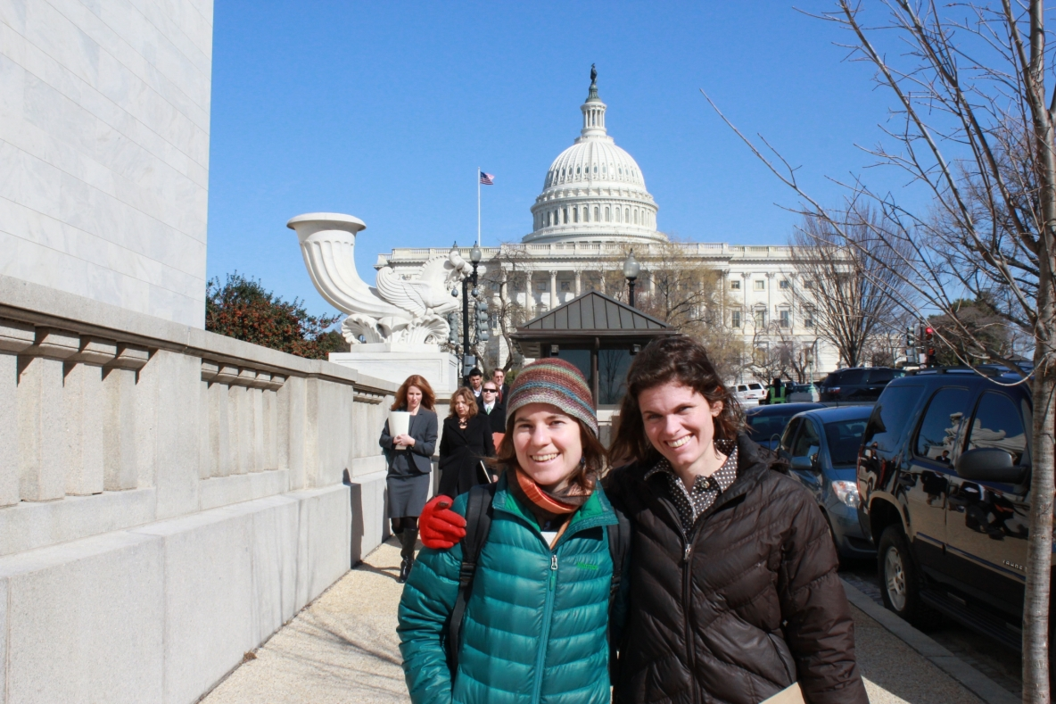 Lindsey and Maisie in front of capitol - Farmer Fly-in 2013