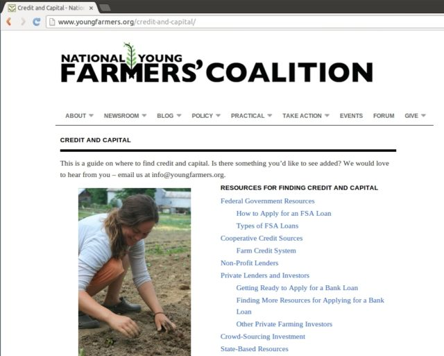 Find Capital and Credit Resources on youngfarmers.org