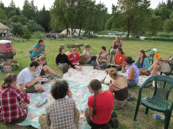 A well-deserved potluck at the Perspephone Farm crop mob, photo courtesy of Jacqueline Cramer