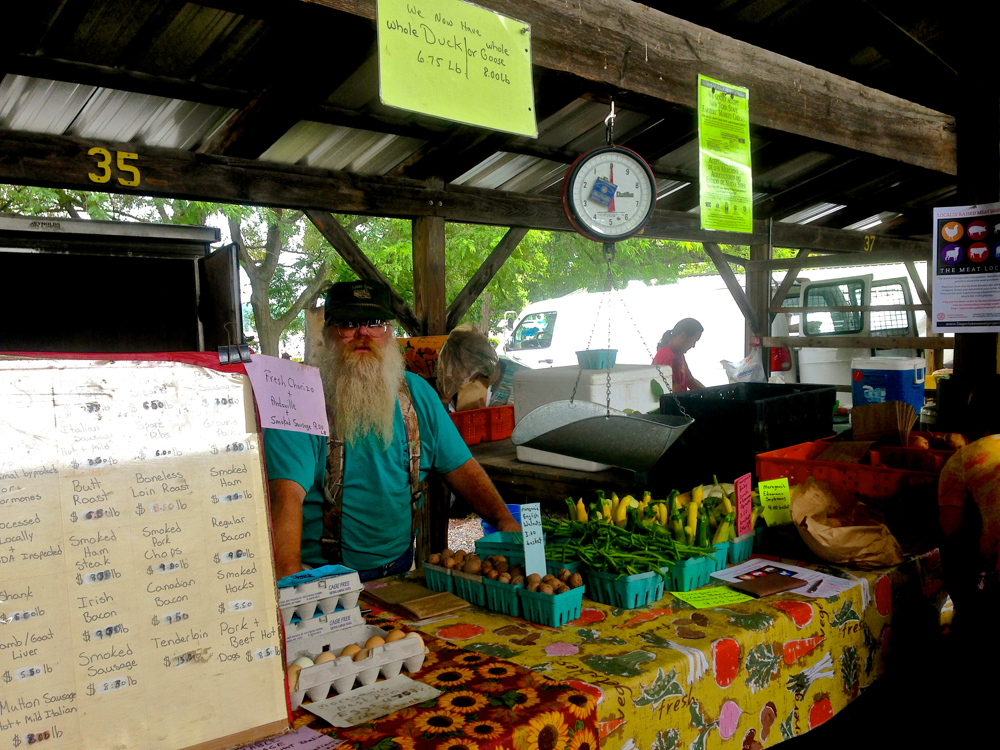 A meat vendor at the Ithaca Farmers Market