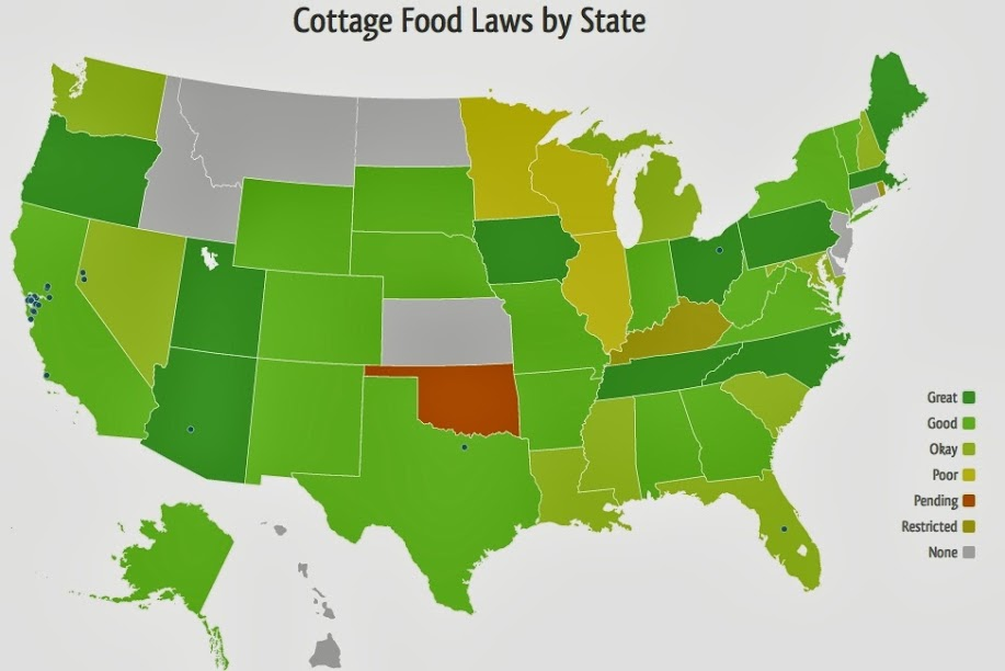 map of cottage food laws by state