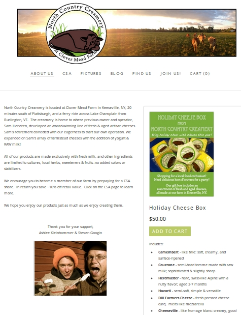 North Country Creamery - website example