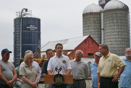 Gov. Cuomo speaking on a farm in Middleburgh, NY in 2011. Photo: Office of Gov. Cuomo