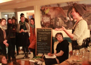 NYFC members discussing the new regulations at a letter-writing event last year.