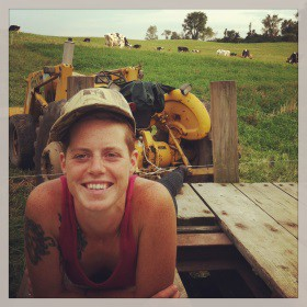 Chaseholm Farm - Chase in front of tractor - small