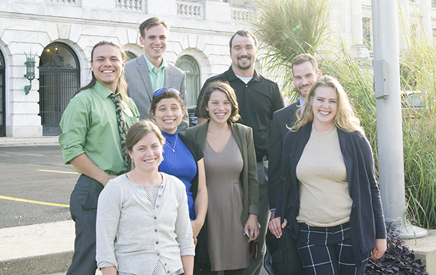 Farmers and NYFC staff in front of USDA. Back row: David Rodriguez, Calvin Andersen, Peter Stocks, Erick Hansen (NYFC Staff). Front row: Emily Eckhardt, Brittany Arrington, Sophie Ackoff (NYFC staff), and Lizz Wysocki.