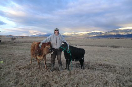 Connie and the heifers surveying the new land.