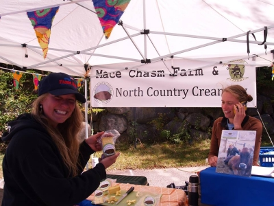 Taking a wholesale order during a slow day at the market for North Country Creamery.