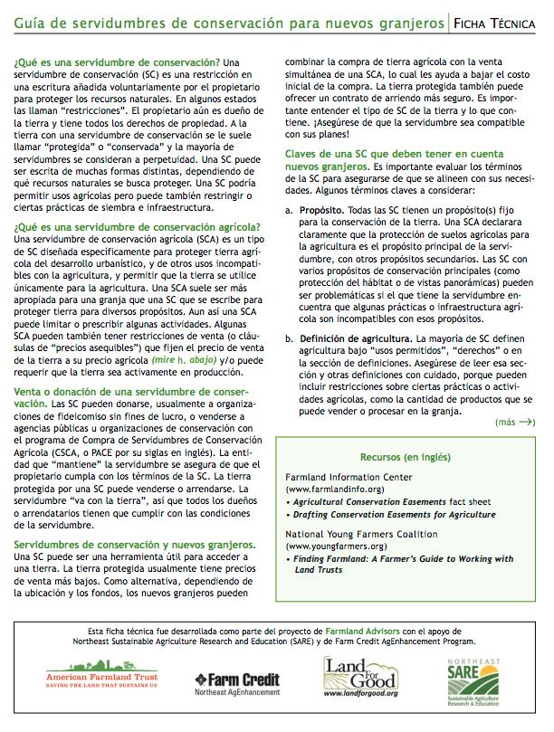 Guía de servidumbres de conservación para nuevos granjeros