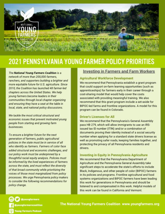 2021 Young Farmer Pennsylvania Policy Priorities